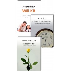 Advance Care Directive Kit, Power of Attorney Kit & Australian Will Kit for one adult